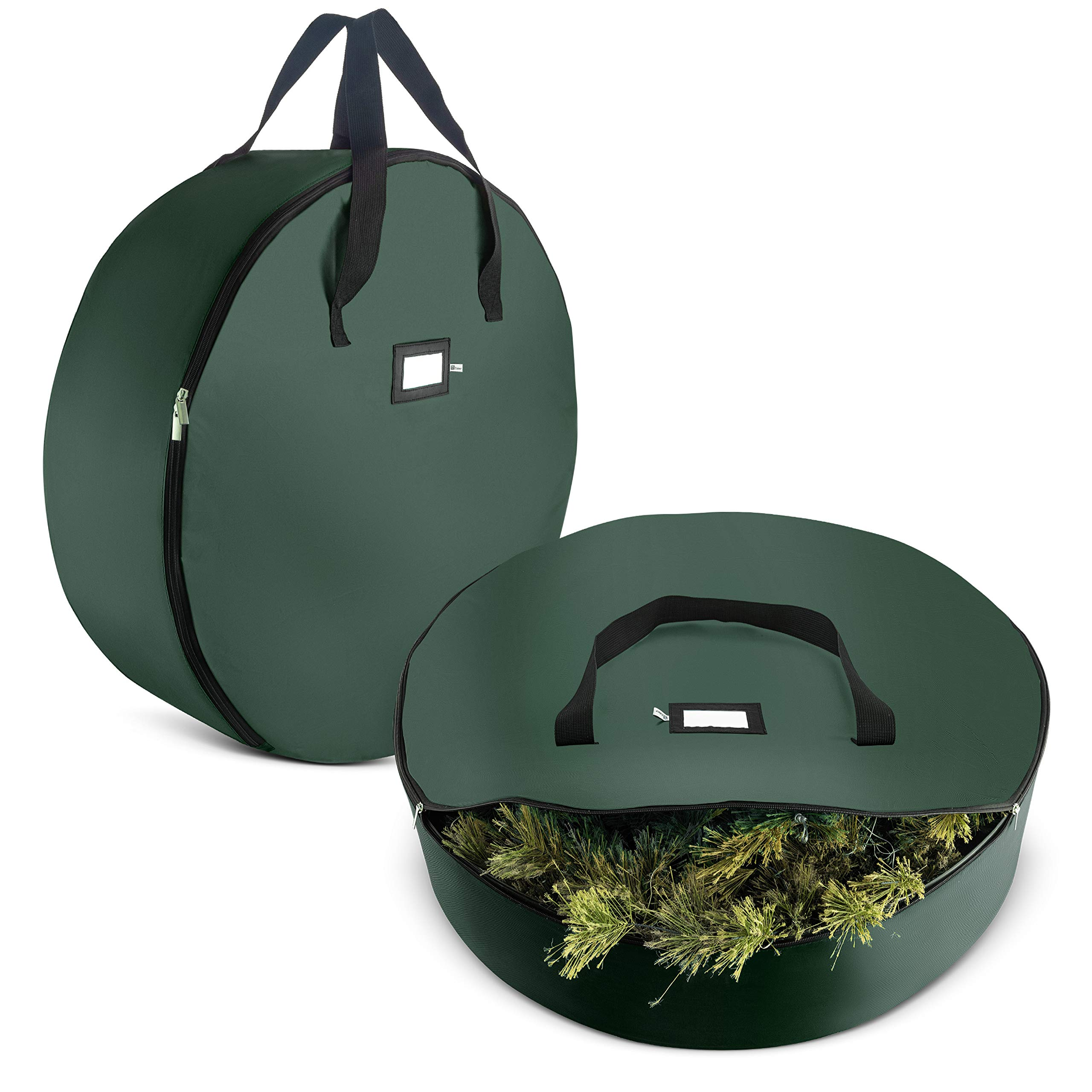2-Pack Christmas Wreath Storage Bag 30'' - Artificial Wreaths, Durable Handles, Dual Zipper & Card Slot, Holiday Xmas Tear Resistant Storage Container 420D Oxford Fabric by ZOBER