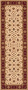 """Momeni Rugs Persian Garden Collection, 100% New Zealand Wool Traditional Area Rug, 2'6"""" x 8' Runner, Ivory"""