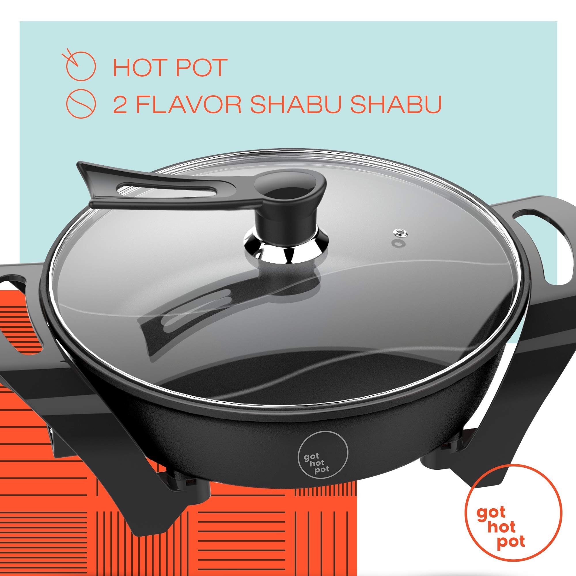GOT HOT POT Electric Indoor Shabu Shabu Hot Pot with Internal Divider for 2 Flavor Experience Hot Pot Cooker | Non Stick Surface with Heat Control Unit | Indoor and Outdoor use by Got Hot Pot