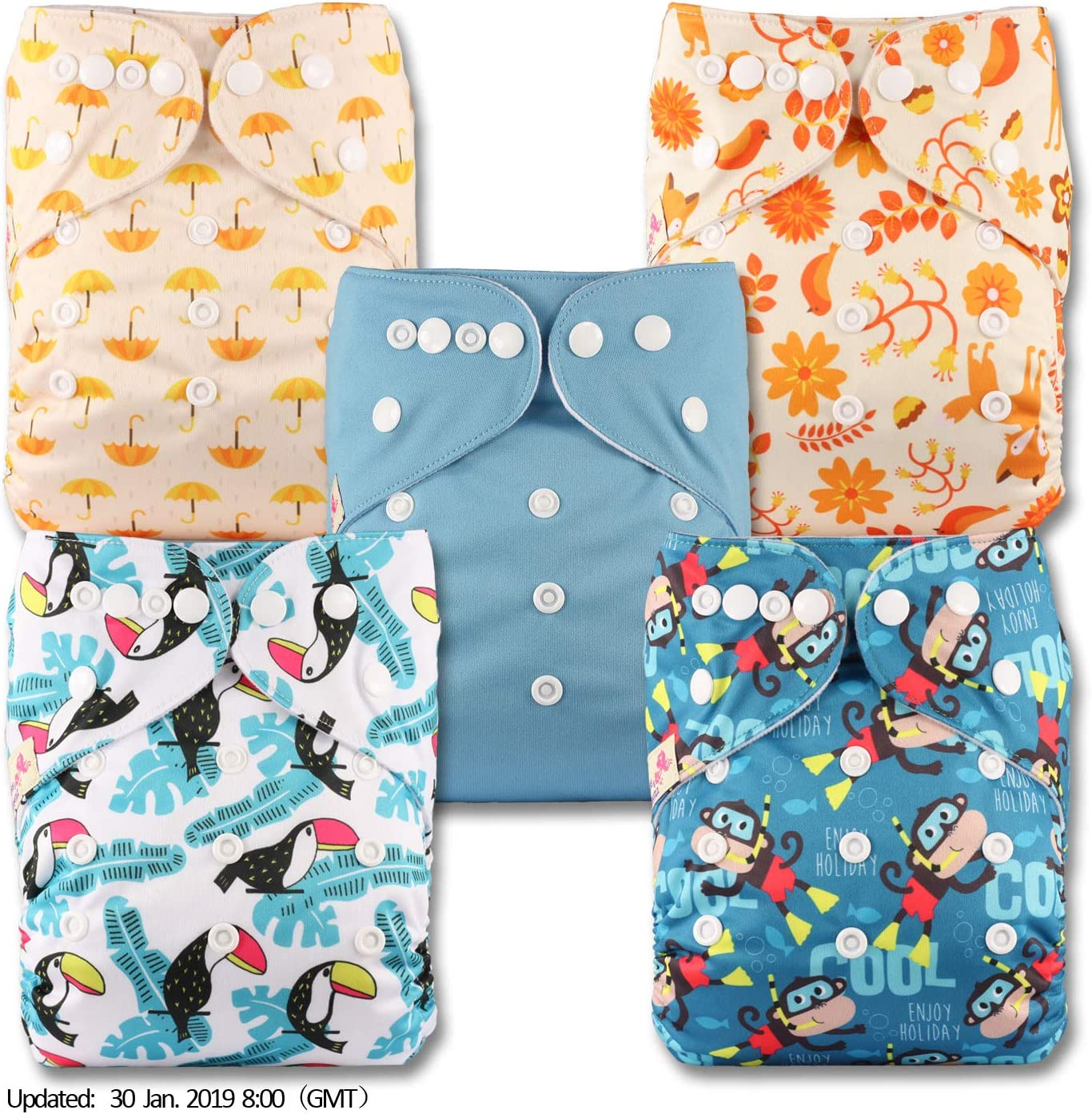 Patterns 508 Fastener: Popper Reusable Pocket Cloth Nappy with 5 Microfibre Inserts Littles /& Bloomz Set of 5
