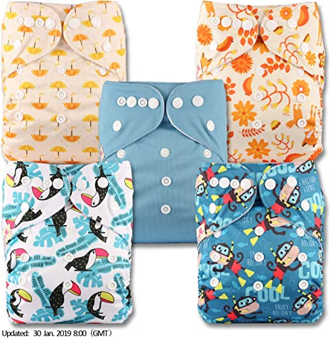 Pattern 23 with 2 Bamboo Charcoal Inserts Baby Cloth Washable Reusable Nappy Pocket Diaper Bamboo Fastener: Popper Littles /& Bloomz