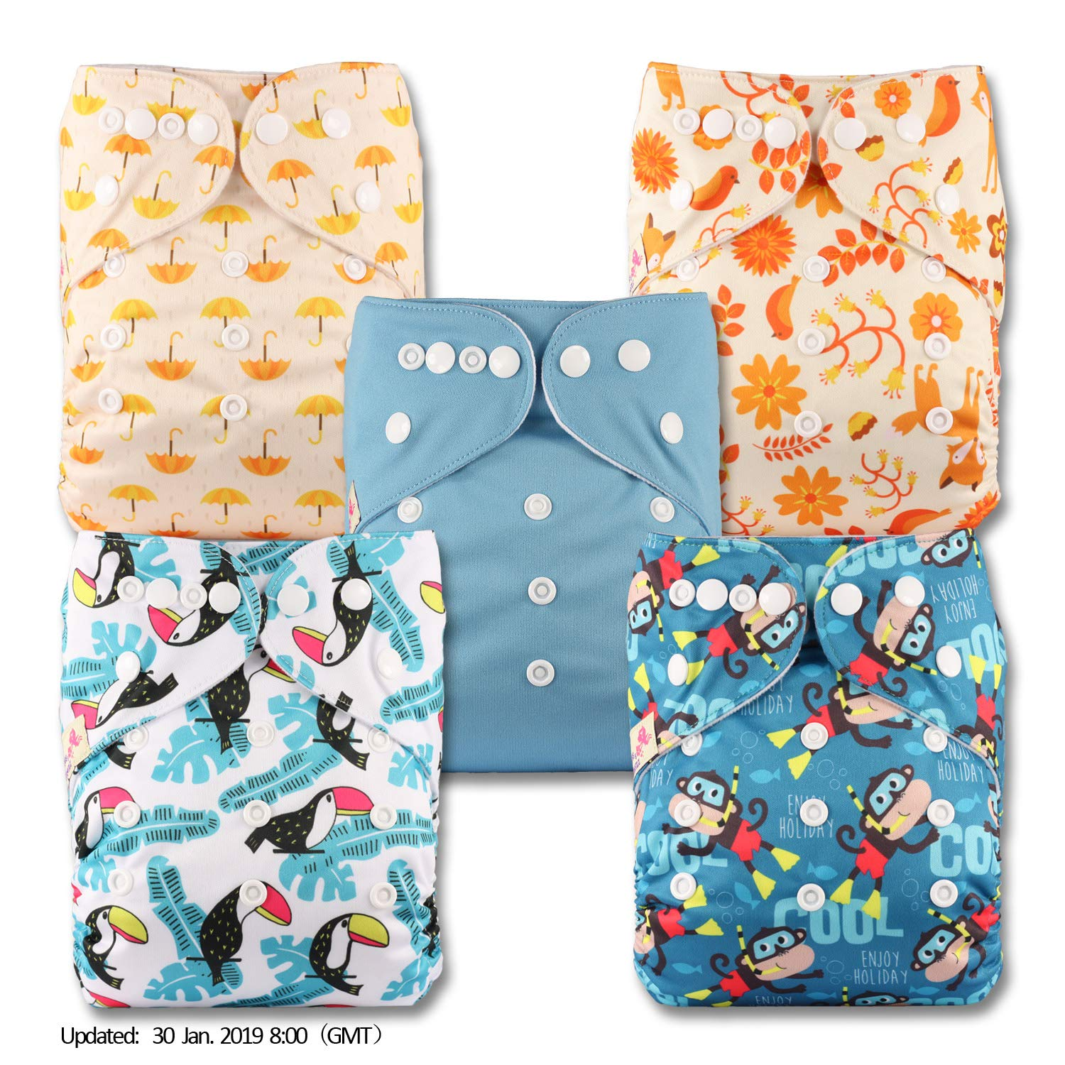 with 10 Microfibre Inserts Patterns 512 Reusable Pocket Cloth Nappy Set of 5 Littles /& Bloomz Fastener: Popper