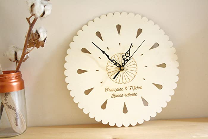 Custom Clock in wood personalized with your text engraved, unique
