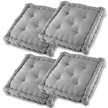 Gräfenstayn® Set de 4 Cojines, Cojines para Silla de 40 x 40 x 9 cm para Interior y Exterior de 100% algodón cojín Acolchado/cojín para el Suelo ...