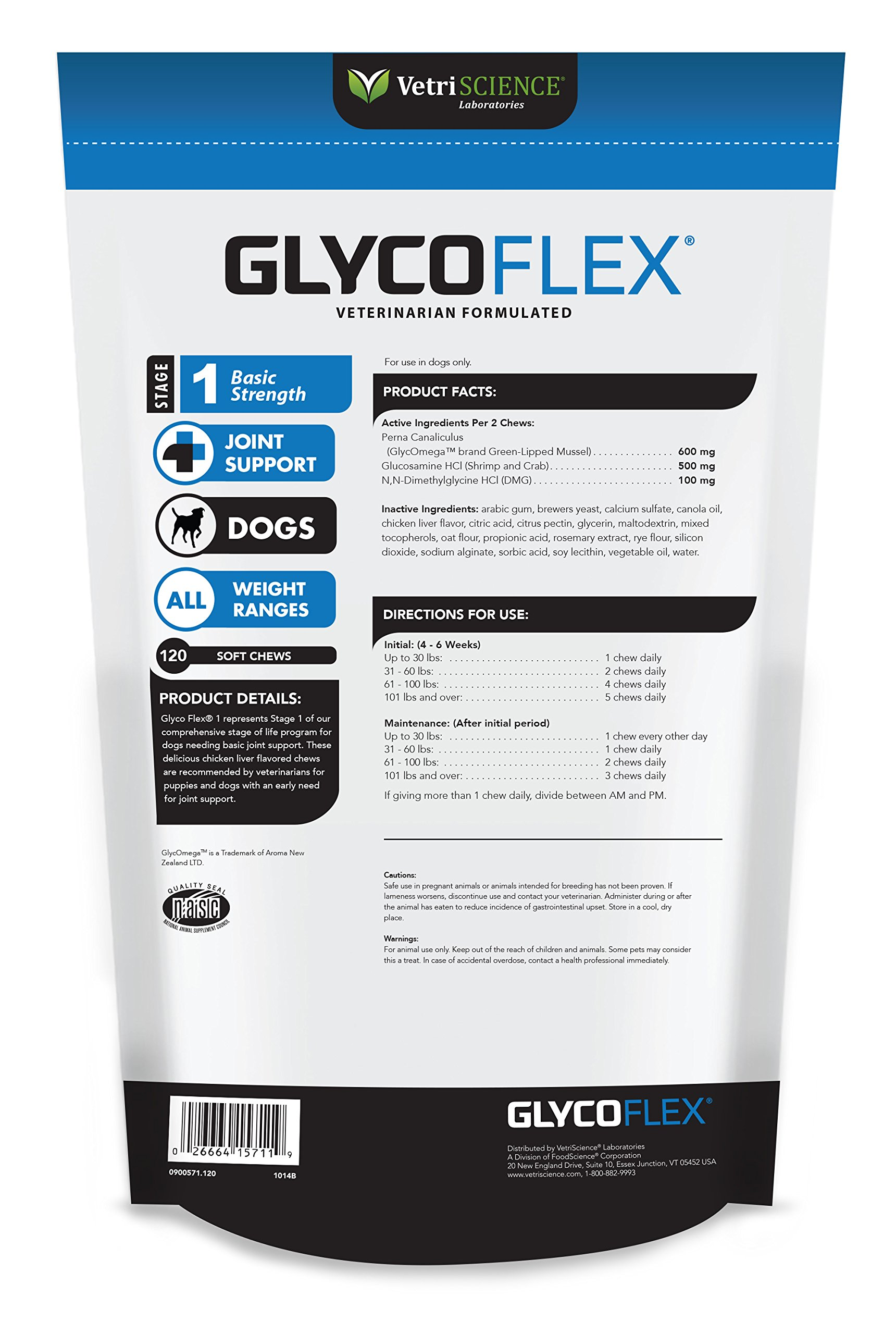 VetriScience Laboratories GlycoFlex 1, Hip and Joint Supplement for Dogs, 120 Bite Sized Chews