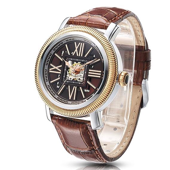 Time100 reloj moderno automático para hombre correa de piel esqueleto reloj mecánico: Amazon.es: Relojes