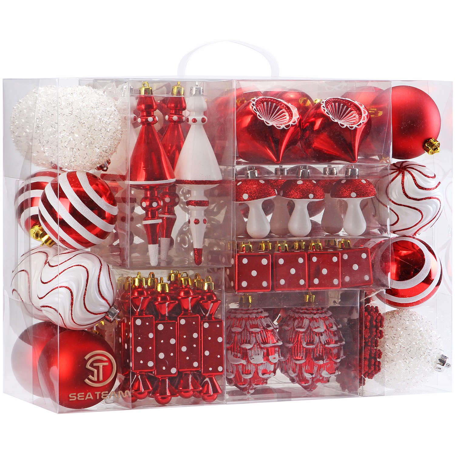 Sea Team 84 Pieces of Assorted Shatterproof Christmas Ball Ornaments Set Seasonal Decorative Hanging Ornament Set with Reusable Hand-held Gift Package for Holiday Xmas Tree Decorations Red /& White ST82SA-RW