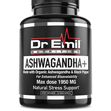 Dr. Emil ASHWAGANDHA+ Max Dose 1950mg Organic Ashwagandha Capsules w/Black Pepper for Absorption