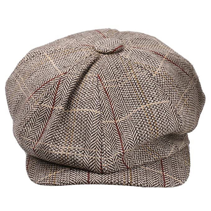 Phenovo Uomo Donna Strillone Golf Gatsby Tweed Sole Basco Cappello Berretto  Sport Kaki  Amazon.it  Abbigliamento a890e9d7f835