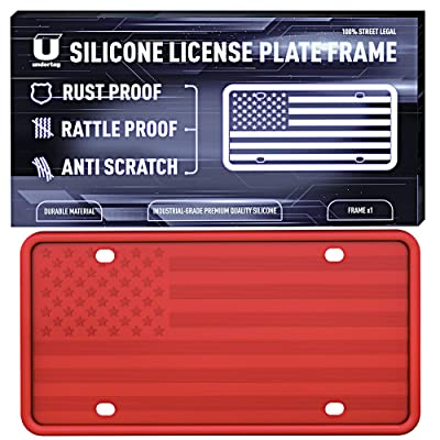 UNDERTAG Silicone License Plate Frame for Car - Red License Plate Frame Silicone with 12 Drainage Holes, Rust Proof, Rattle Proof, Anti-Scratch Universal Durable Car Tag Holder: Automotive