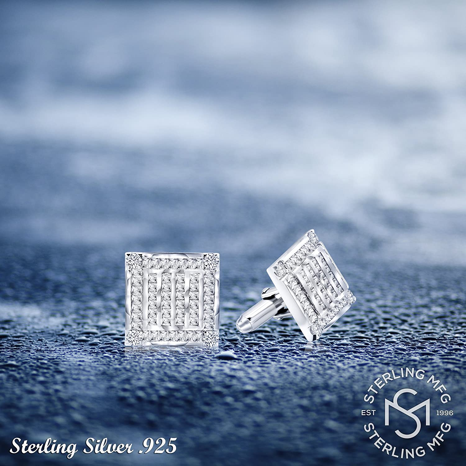 Mens Sterling Silver .925 Square Cufflinks with Channel-Set Baguette and Princess-Cut Cubic Zirconia Stones Platinum Plated By Sterling Manufacturers 18.5 mm