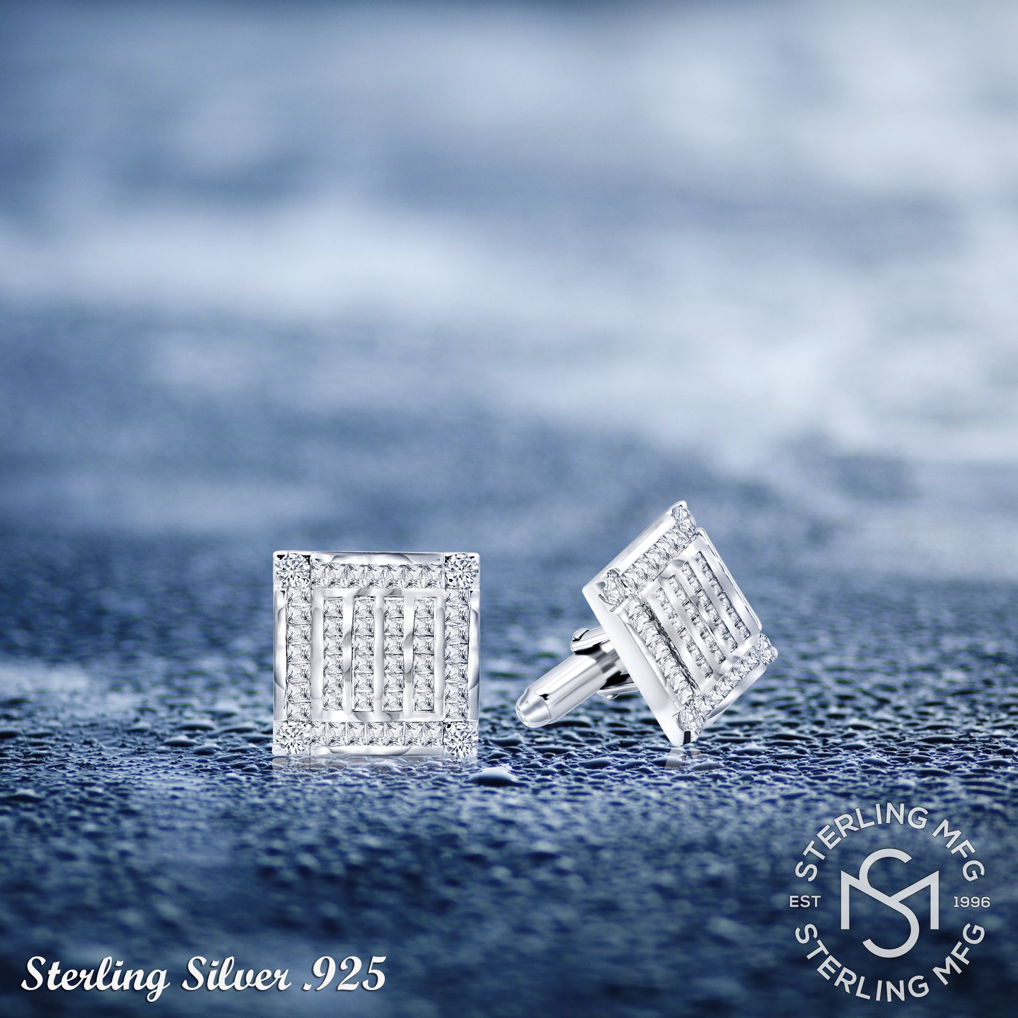Men's Sterling Silver .925 Square Cufflinks with Channel-Set Baguette and Princess-Cut Cubic Zirconia Stones, Platinum Plated. 18.5 mm. By Sterling Manufacturers by Sterling Manufacturers (Image #6)