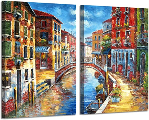 "LARGE BEAUTIFUL CITY SCENE CITYSCAPE CANVAS ART 34x 20/"""