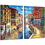 Italian Town Canvas Wall Art: Mediterranean Cityscape Hand Painted Picture Painting on Canvas for Living Room (24'' x 18'' x 2 Panels)