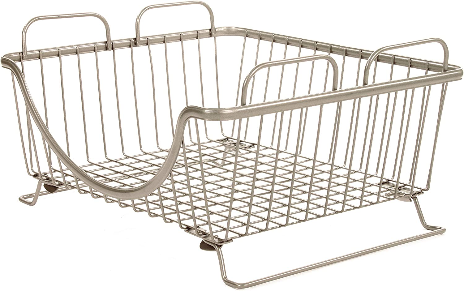 Spectrum Diversified Ashley Stackable Tray, Wire Basket With Raised Feet and Looped Handles Modular Stacking Bin System for Kitchen Countertop & Desk Organization, Satin Nickel