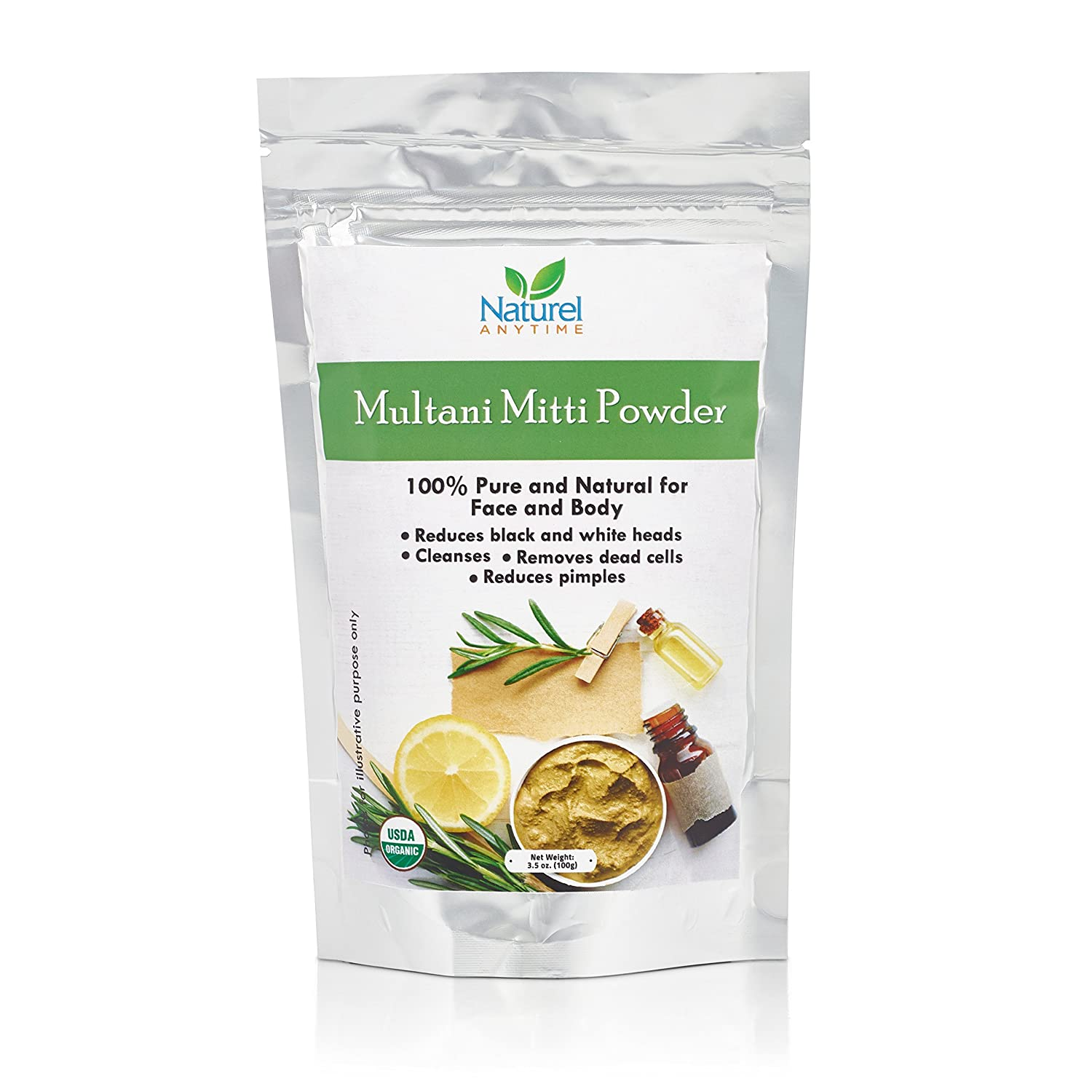 Naturel Anytime USDA Organic Multani Mitti powder/Bentonite 100gm- 100% Pure and Natural for Face and Body - FREE POSTAGE Two face pack recipe suggestions are provided with the product. Helps in reducing black and white heads. Excellent cleanser and exfol