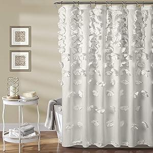 "Lush Decor Riley Shower Curtain | Bow Tie Textured Fabric Shabby Chic Farmhouse Style for Bathroom, x 72"", White"