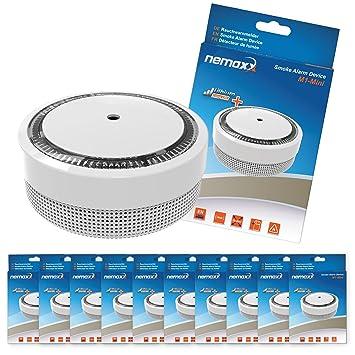 10x Nemaxx Detector de Humo M1-Mini sensibilidad fotoeléctrica - con batería de Litio Tipo