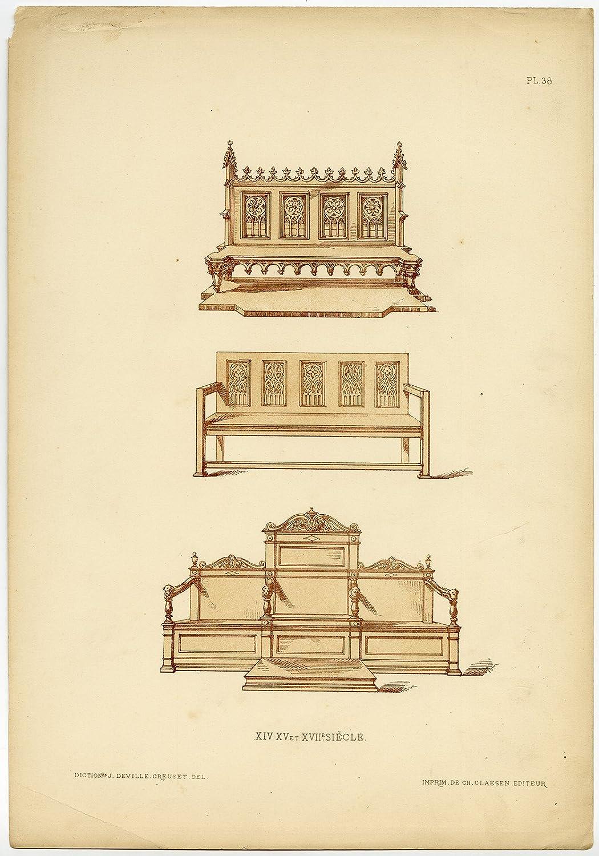 Antique Print-FURNITURE-CHURCH-BENCH-PEW-pl. 38-Deville Creuset-1850