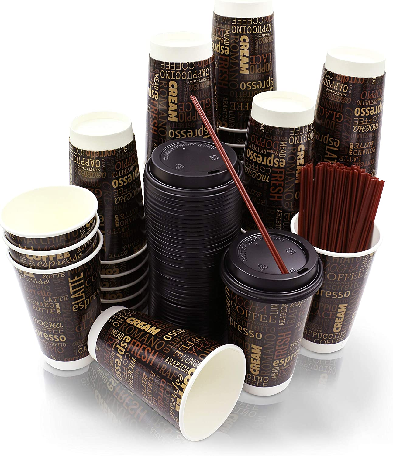 50 Pack | Premium 16 oz Disposable Paper Coffee Cups with Lids & Stirrer Straws | Disposable Hot Cups with Insulated Double Wall Technology by Bottoms Up Cups