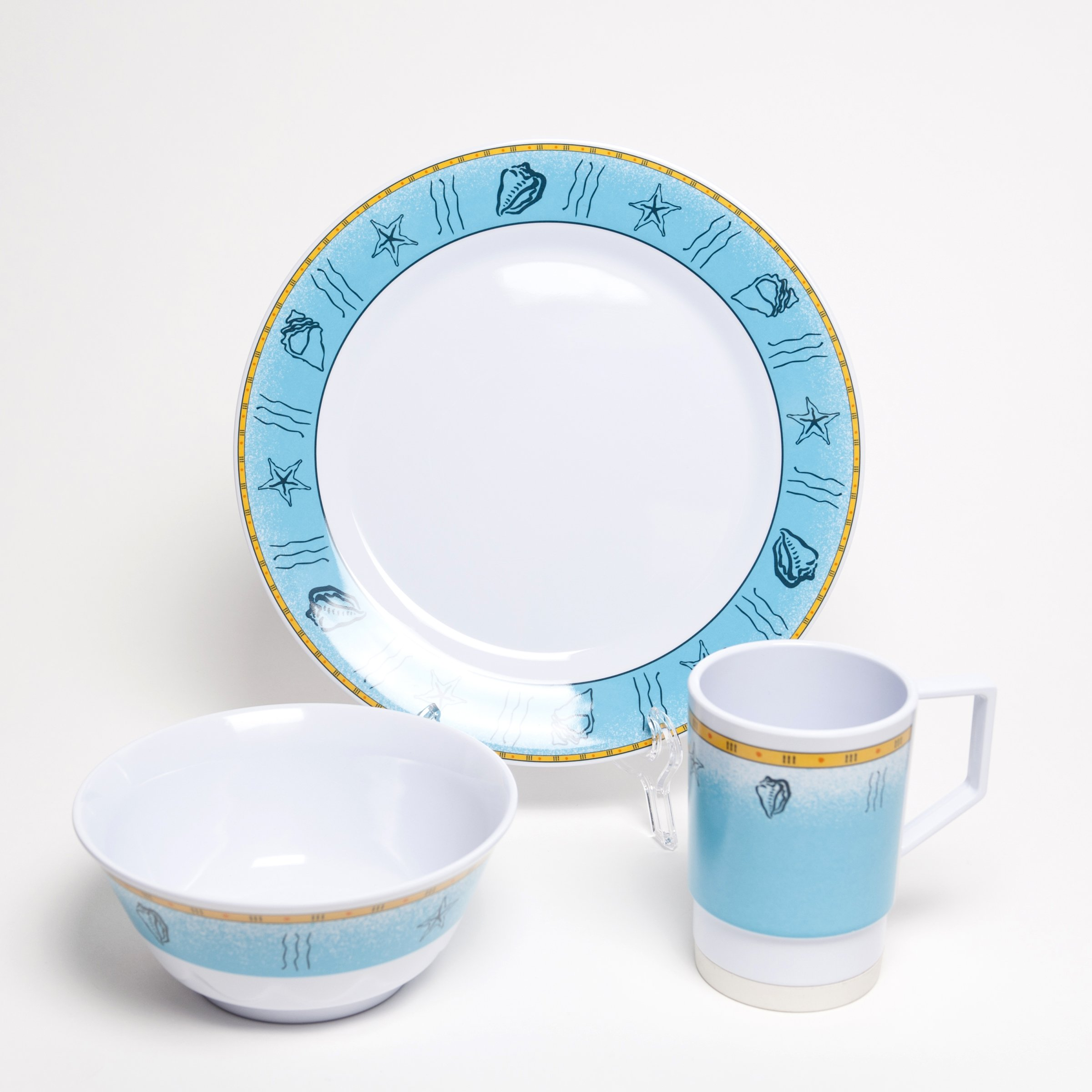 Galleyware Offshore 18 Piece Melamine Non-Skid Dinnerware Set