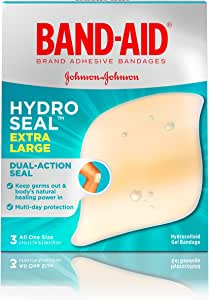 Band-Aid Brand Hydro Seal Extra Large Adhesive Bandages for Wound Care and Blisters, All Purpose Waterproof Blister Pad and Hydrocolloid Gel Bandages, Sterile and Long-Lasting, 3 ct