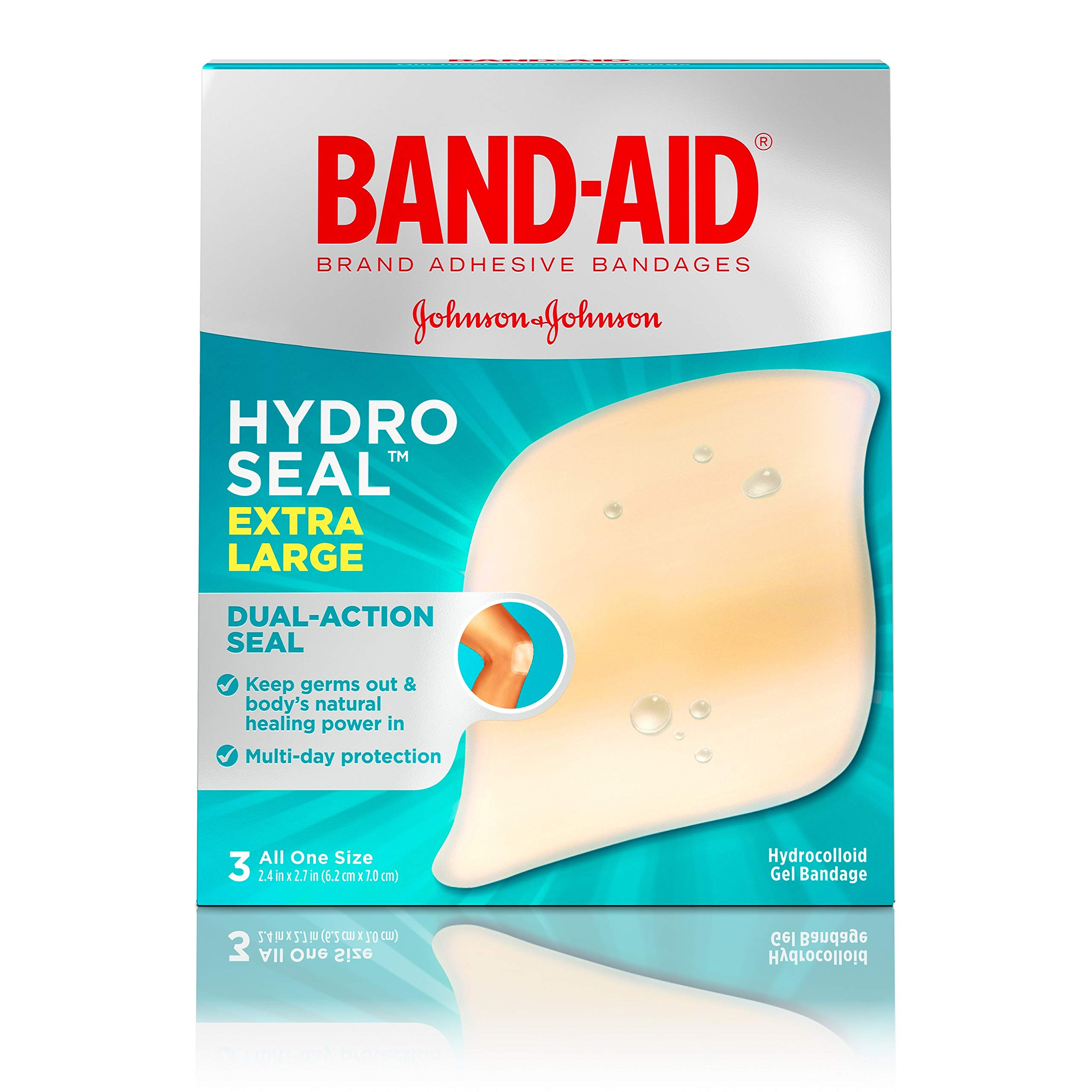 Band-Aid Brand Hydro Seal Extra Large Adhesive Bandages for Wound Care & Blisters, All Purpose Waterproof Blister Pad & Hydrocolloid Gel Bandages, Sterile & Long-Lasting, 3 ct