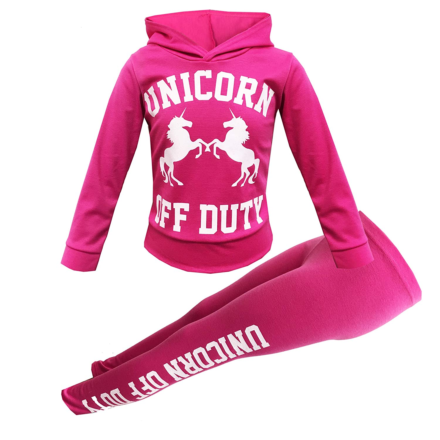 Girls Unicorn Off Duty Long Sleeve Hooded top & Legging Set Kids Tracksuit Jogging Suit 2 PC Set Age 7-To-13 Years