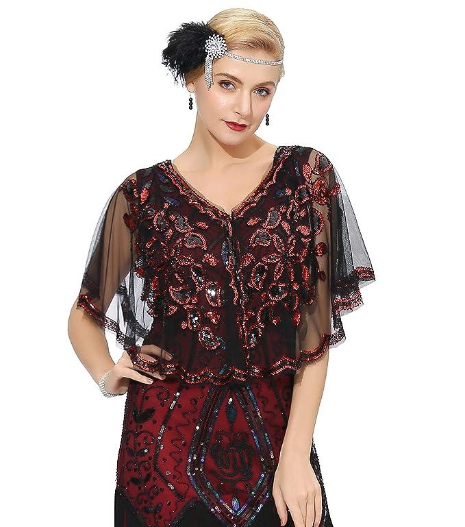 1920s Shawls, Wraps, Scarves, Fur Stole Metme Vintage Women Shawl 1920s Flapper Cover Ups Sequin Cape Evening Wrap $21.99 AT vintagedancer.com