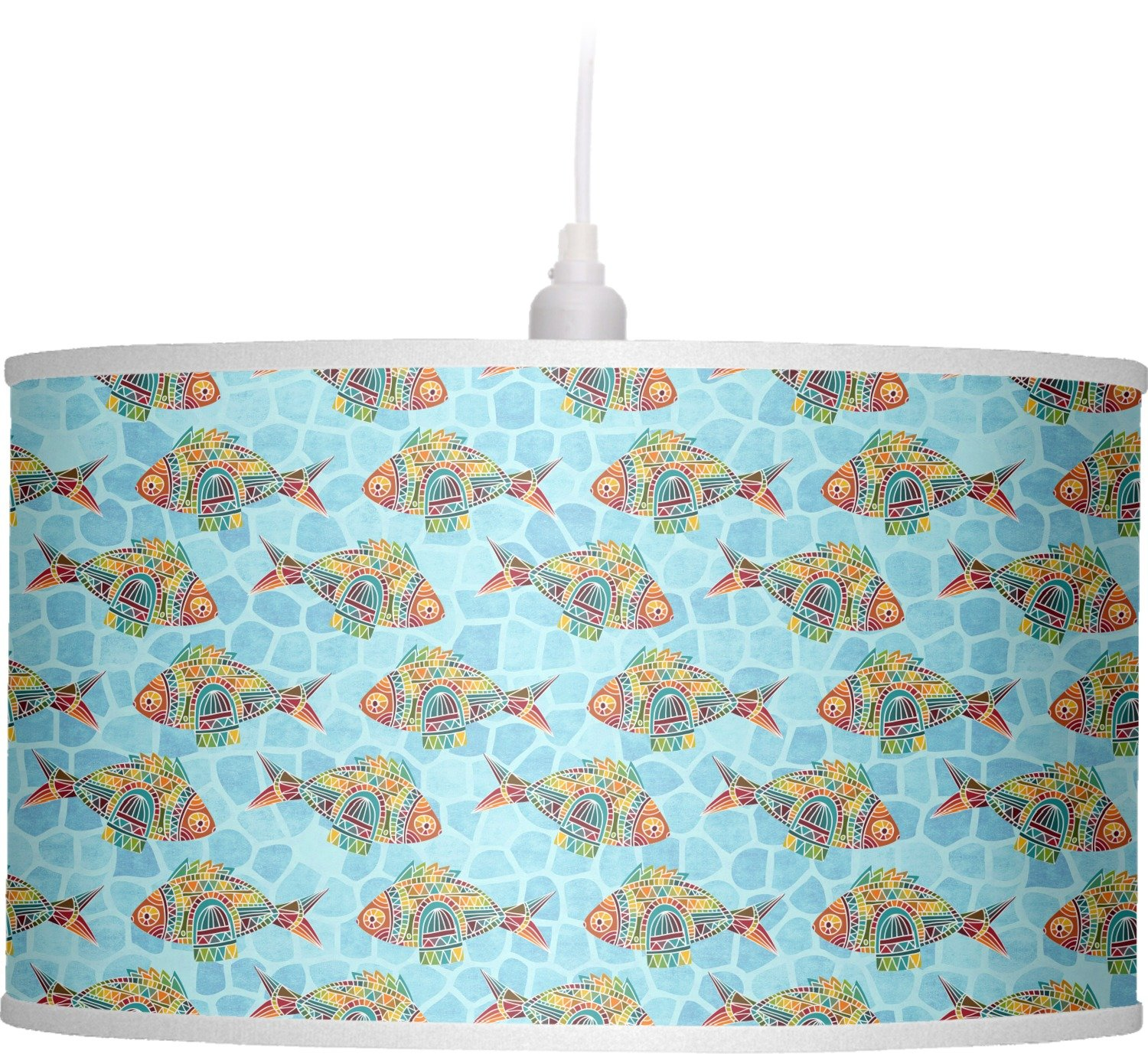 RNK Shops Mosaic Fish Drum Pendant Lamp Linen (Personalized) by RNK Shops