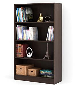 "Bluewud Alex Wall Book Shelf/Home Decor Display & Storage Rack Cabinet Unit (Wenge, 4 Shelves, 52.8x31.5"")"""