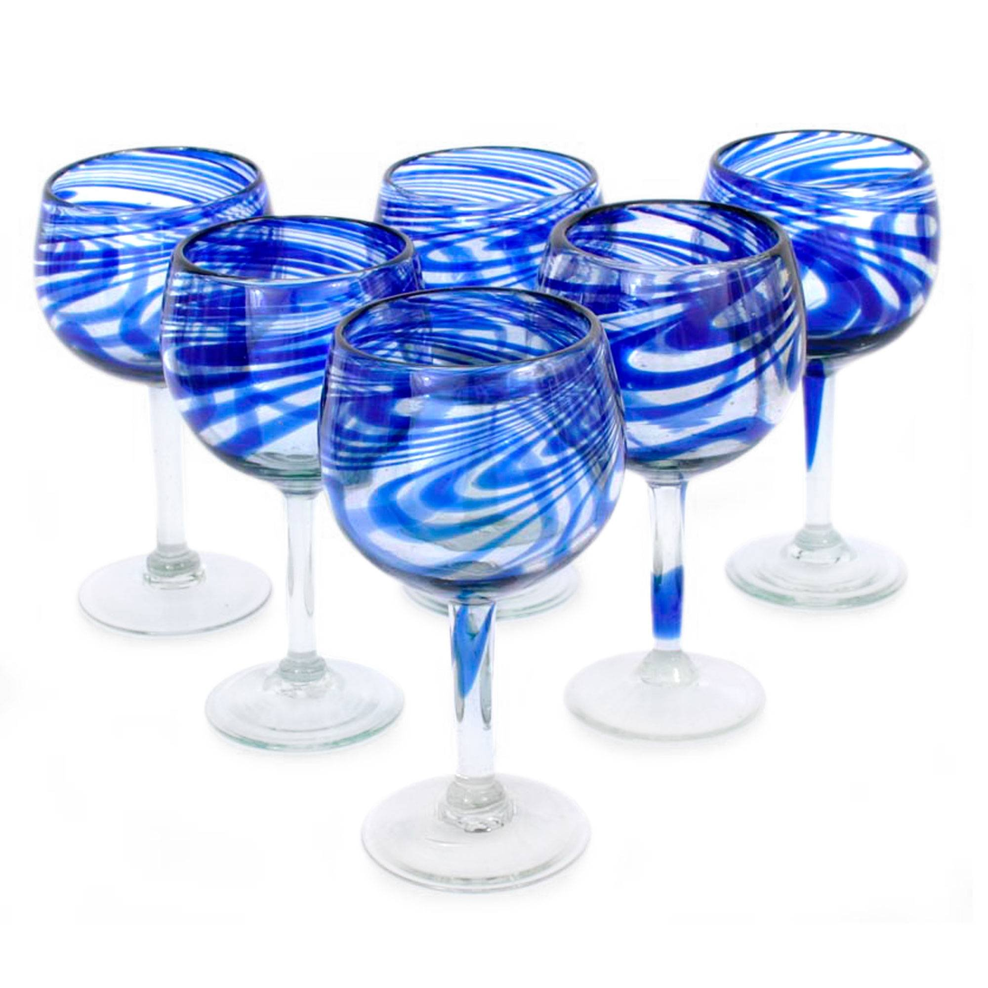 NOVICA Hand Blown Blue Swirl Recycled Glass Wine Glasses,11 oz 'Blue Ribbon' (large, set of 6)