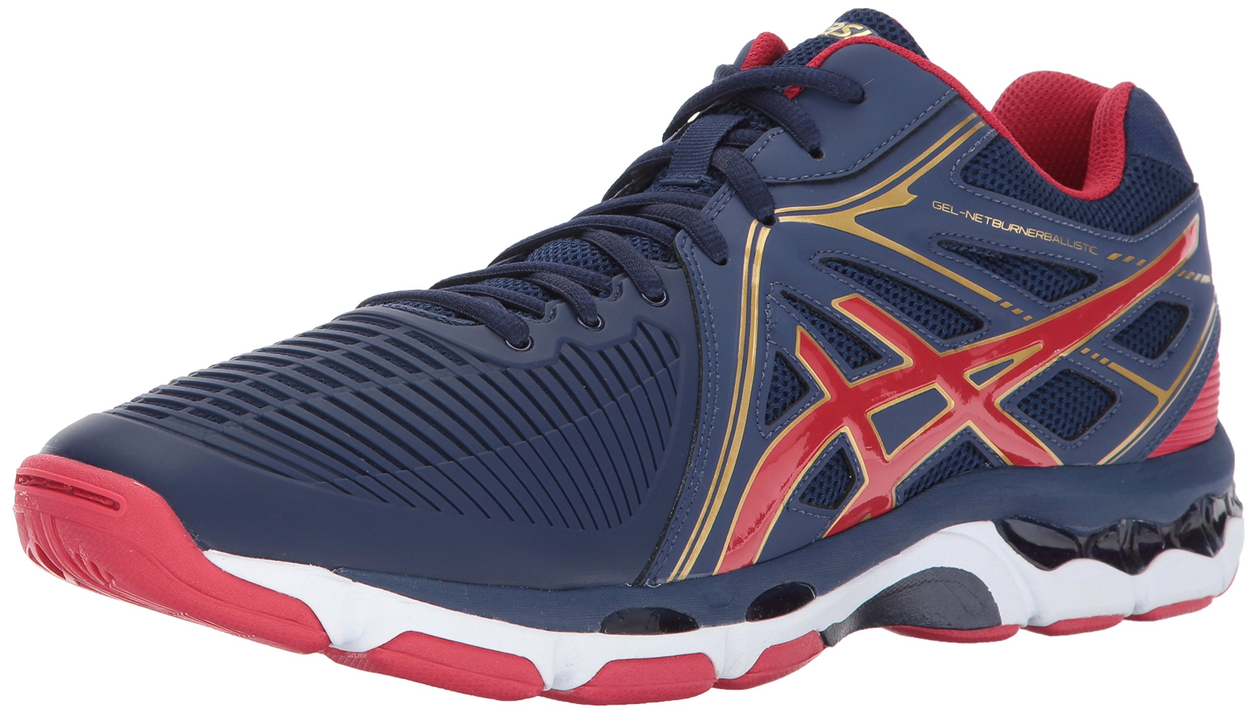 ASICS Men's Gel-Netburner Ballistic MT Volleyball Shoe, Indigo Blue/Prime Red/Rich Gold, 6 Medium US