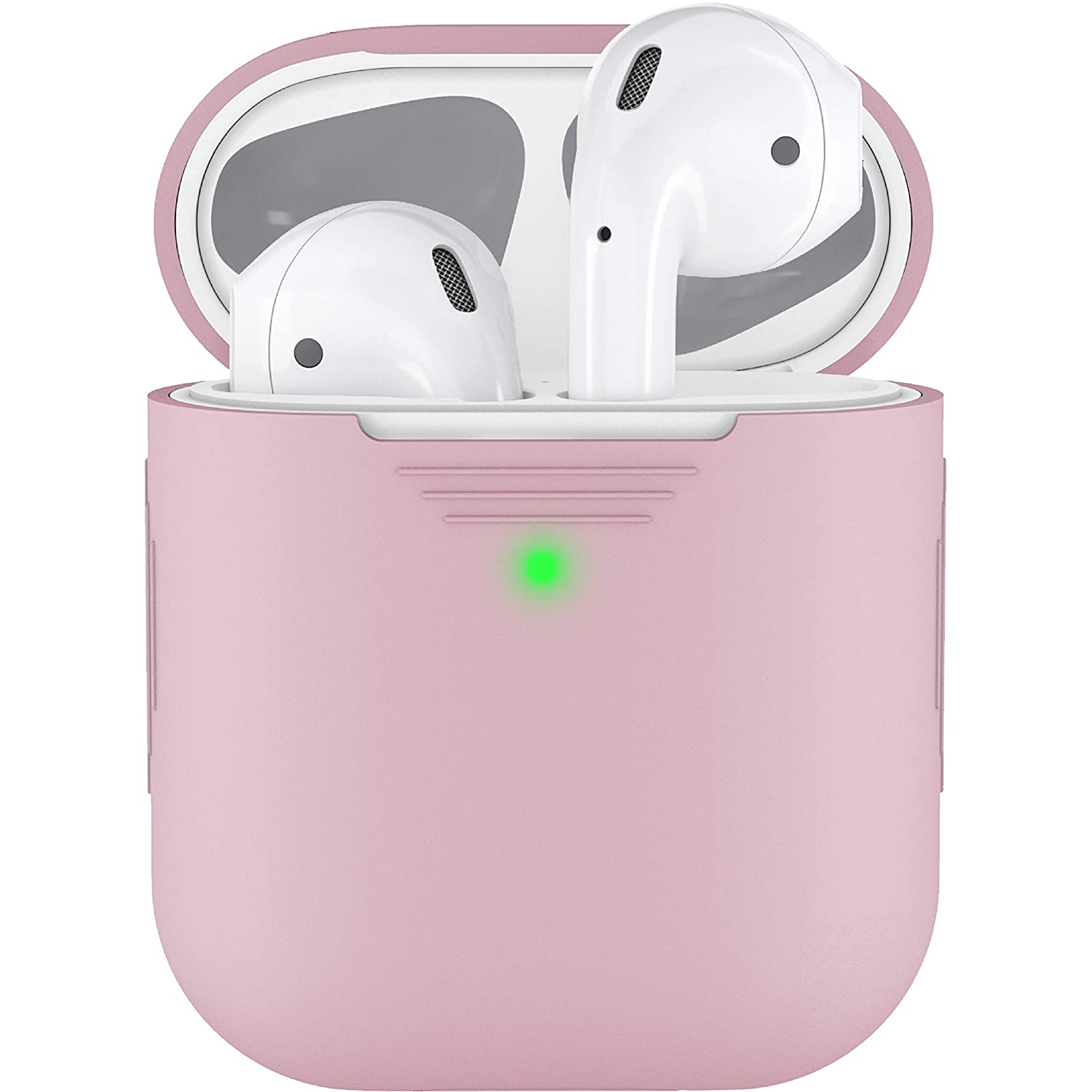 PodSkinz AirPods 2 & 1 Case [Front LED Visible] Protective Silicone Cover and Skin Compatible with Apple AirPods (Without Carabiner, Pretty in Pink)