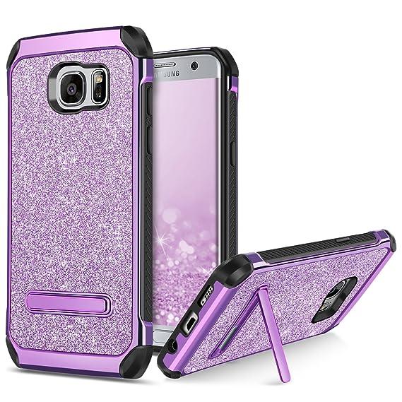 brand new 8d99f 77374 BENTOBEN Galaxy S7 Edge Case, Samsung Galaxy S7 Edge Case, 2 in 1 Glitter  Bling Hybrid Soft TPU Hard Covers Kickstand Chrome Shockproof Bumper ...