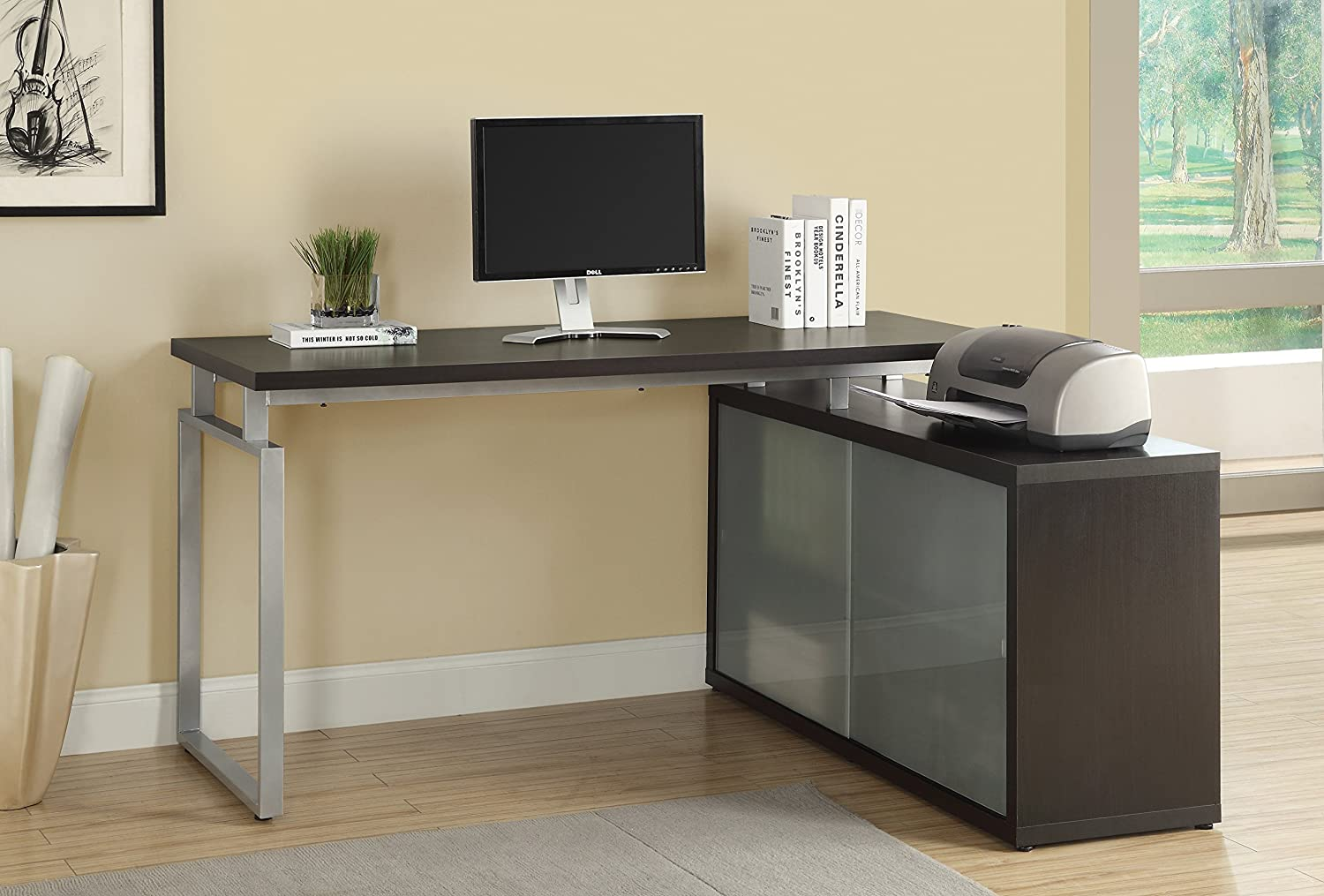Amazoncom Monarch HollowCore L Shaped Desk with Frosted Glass