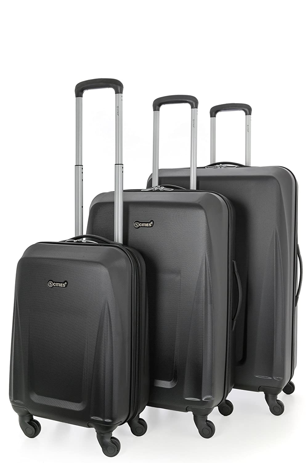 5 Cities Lightweight ABS Hard Shell 3 Piece Luggage Suitcase Set with 4 Wheels (21