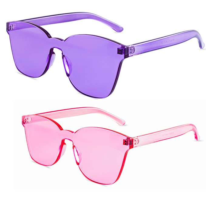 b2cc7179569c One Piece Rimless Sunglasses for Women and Men- Transparent Candy Colored  Glasses Tinted Eyewear (