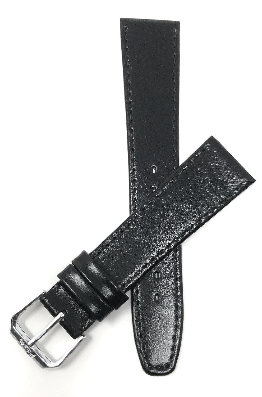 6 mm to 20 mm、スリム本革時計バンドストラップ, Comes inブラウンとブラック、またはwithoutステッチ 16MM Black / Stitching 16MM Black / Stitching Black / Stitching 16MM B01B16RM5M