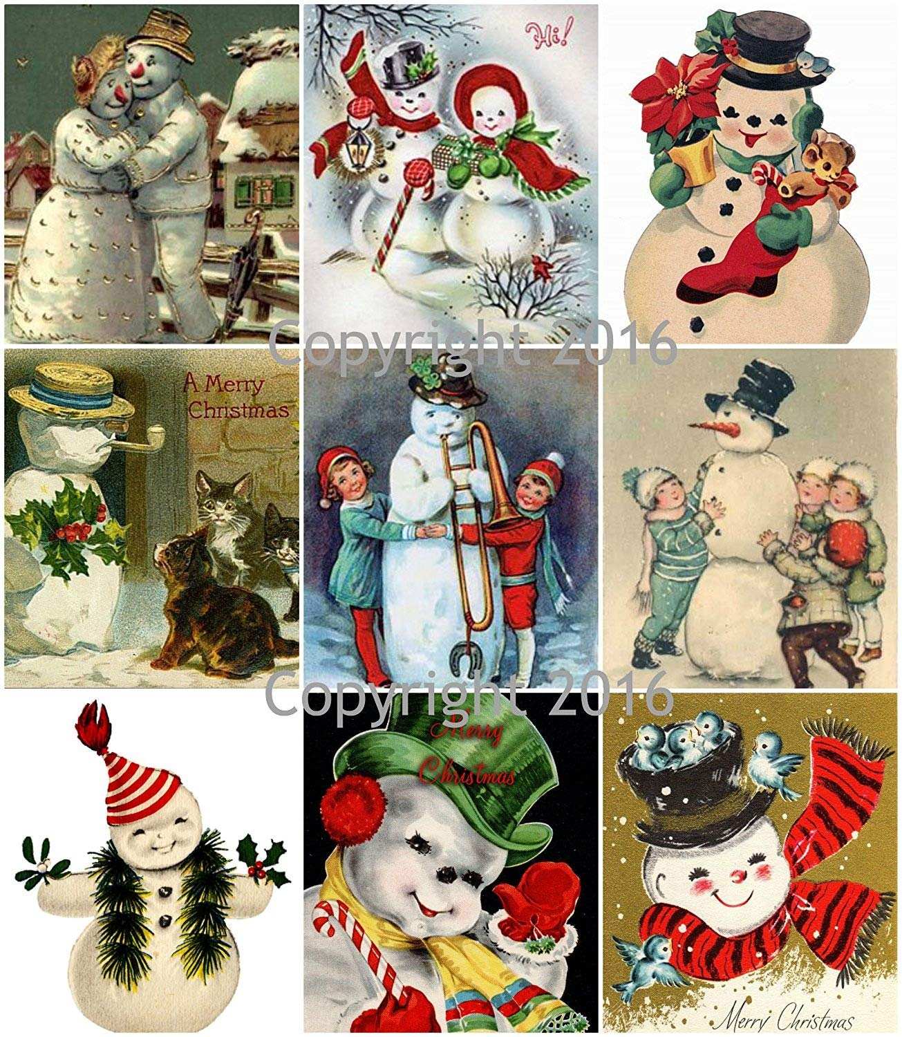 Victorian Vintage Snowman Christmas Card Collage Sheet 8.5 x 11 Paper Moon Media
