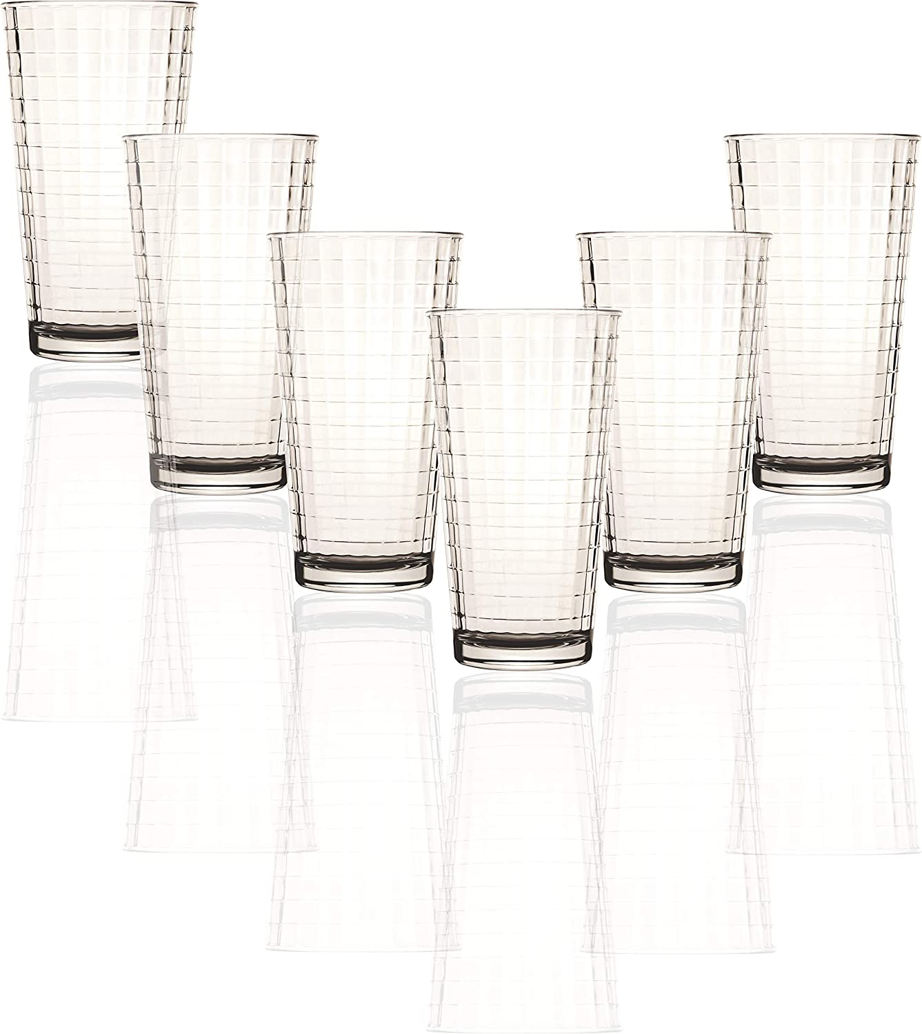 Circleware 40113 Matrix Set of 6 Heavy Base Tumbler Cooler Beverage Glasses 15.75 oz, Drinking Highball, Cups for Water, Juice, Milk, Beer, Ice Tea, Farmhouse Decor, Selling Gifts, 6pc