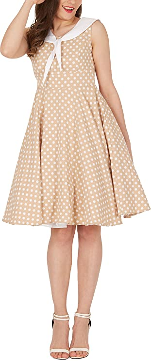 BlackButterfly Clio Polka Dot Vintage Swing Collared 1950s Dress: Amazon.co.uk: Clothing