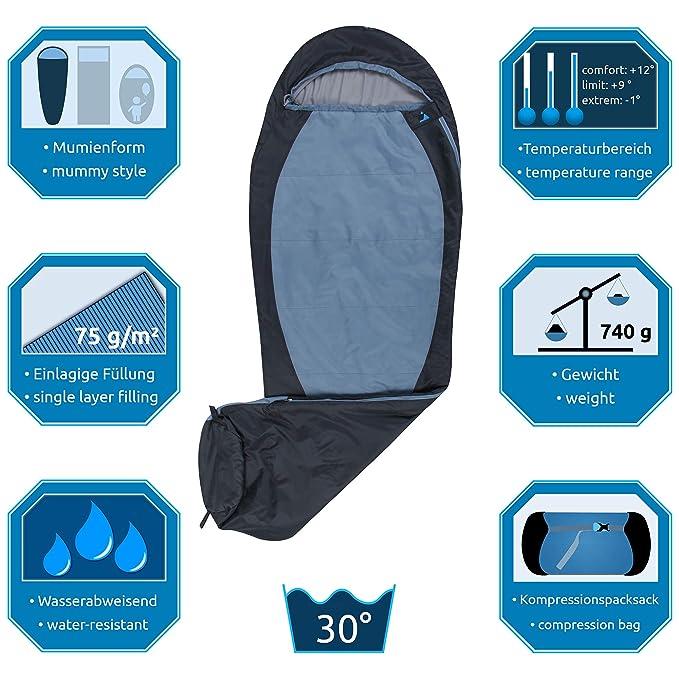 10T Outdoor Equipment 10T Nerida Saco de Dormir de la Momia, Azul, Estándar: Amazon.es: Deportes y aire libre