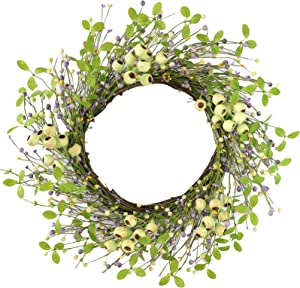 """Artificial Berry Wreath,22"""" Green Wreath with Big Berries Pip Berry Wreath Spring/Summer Berry Wreath for Front Door Wall Window and Easter Decor"""