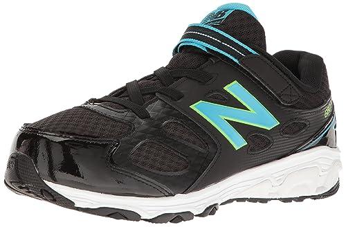 New Balance Girls^Unisex-Baby KA680 Running Shoe, Black/Blue/Green
