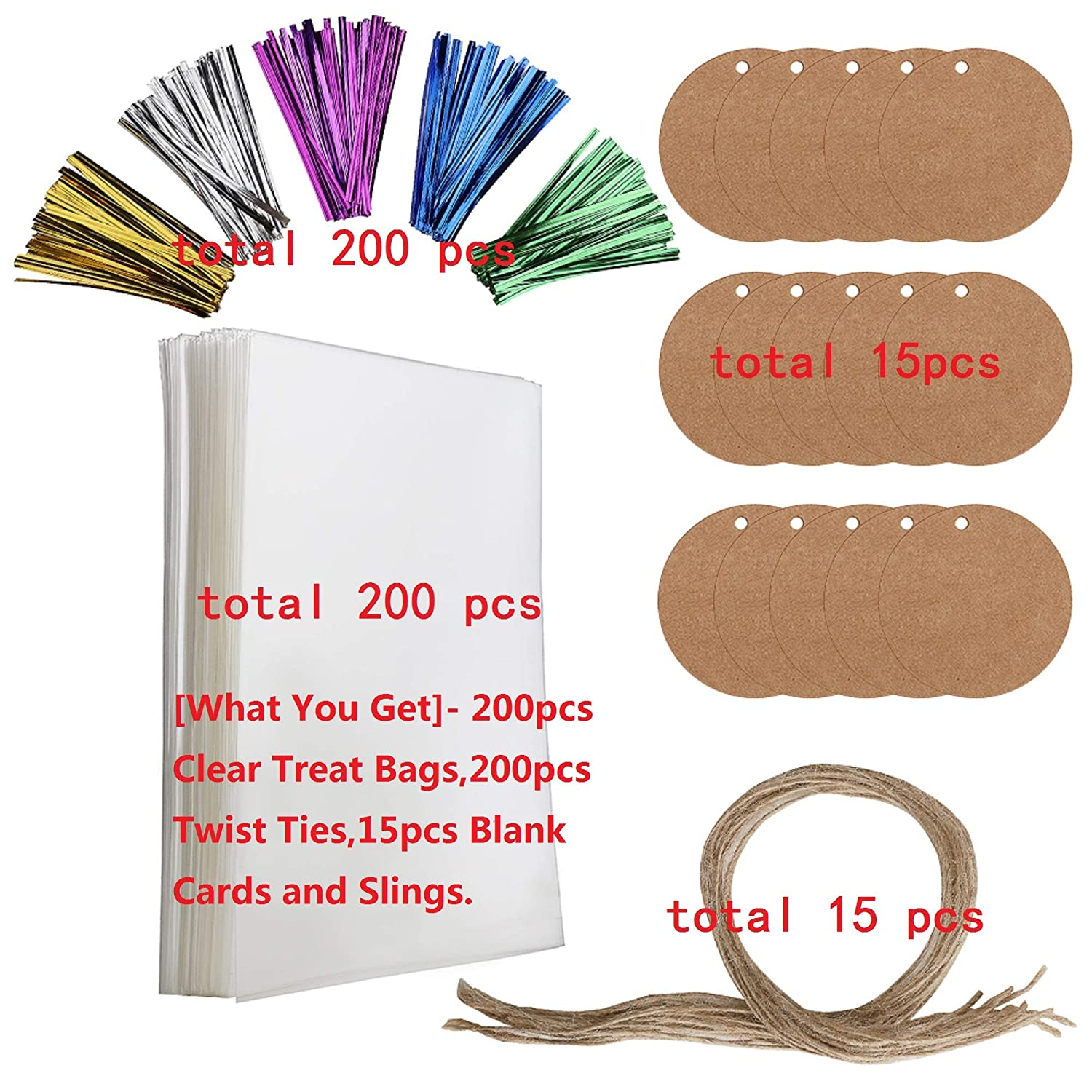 200 PCS Clear Bags,Party Favor Bags with 200 Twist Ties 5 Mix Colors Good for Bakery Cookies Candies,Dessert,Popcorn 2 x 10