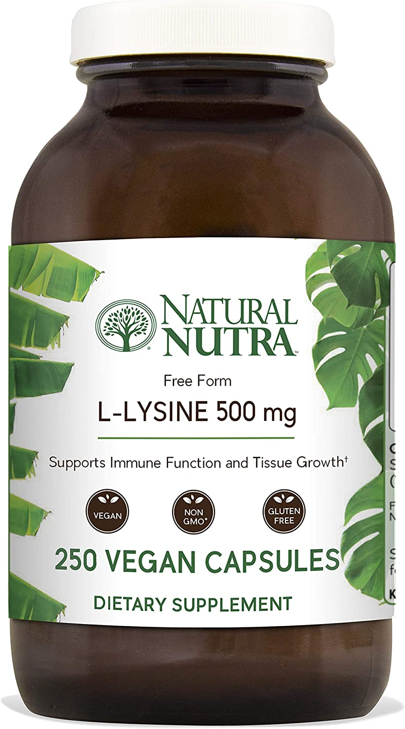 Natural Nutra L Lysine HCl, Free Form Alpha Amino Acid Supplement, Non GMO, Vegan, 500 mg, 250 Capsules