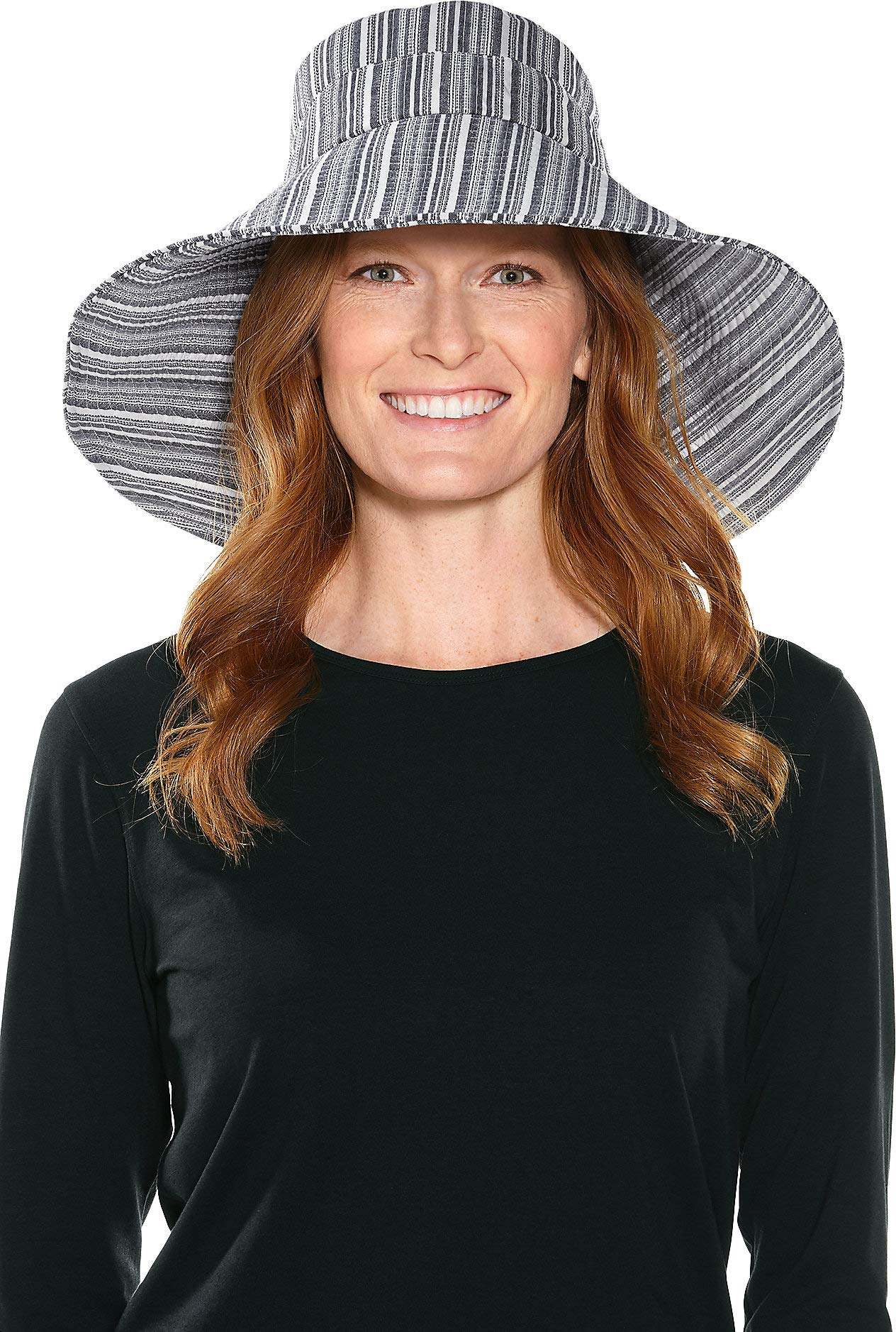 Coolibar UPF 50+ Women's Beach Hat - Sun Protective (One Size- Black/White Small Stripe)