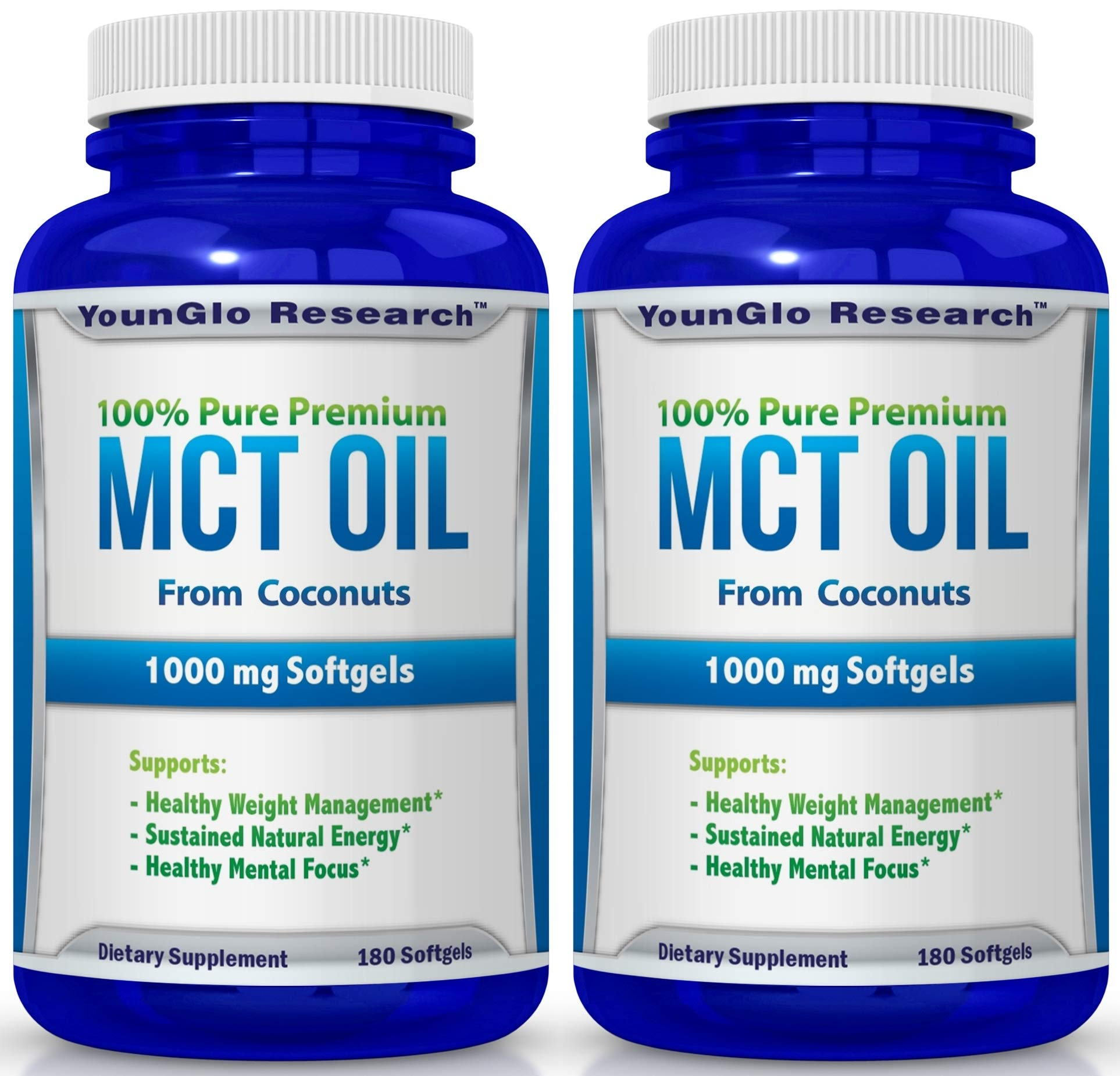 MCT Oil Capsules 100% from Coconuts - 1000 mg 180 Softgels - Great Pills for Energy and Weight Management (2 Pack)