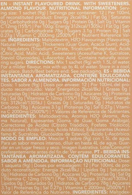 Prozis H2O Infusion 12x9g - Sobre de Bebida de Leche de Almendra para la Hidratación Corporal - Repleto de Vitamina C - Deliciosa, Saludable y Segura ...